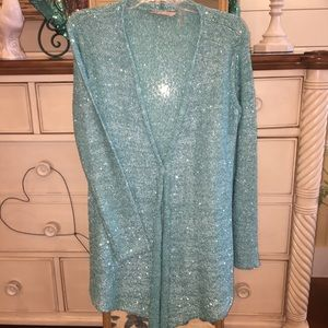 Sequin teal/aqua sparkly open-front drape sweater